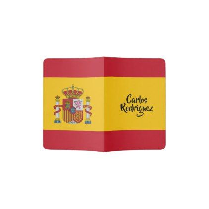 Spain Flag custom name passport cover - monogram gifts unique design style monogrammed diy cyo customize