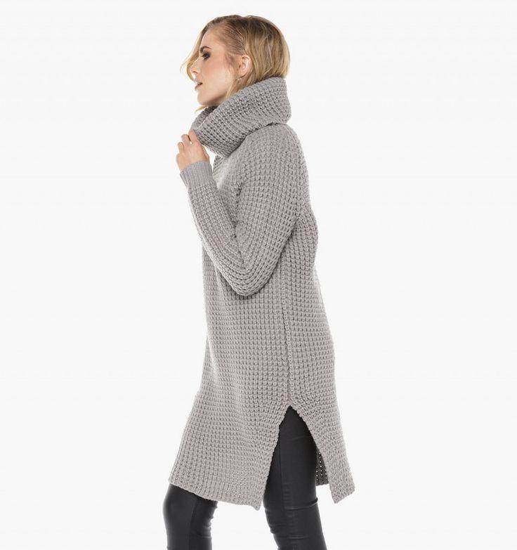 Oversized gebreide grijze trui