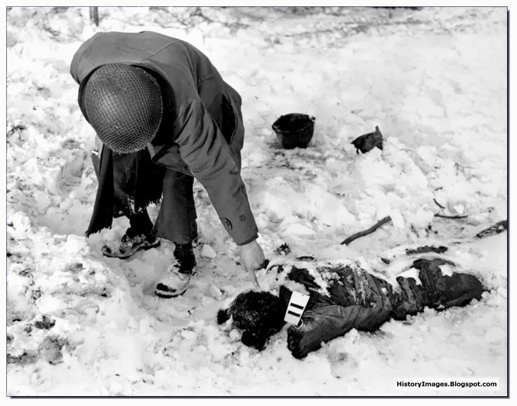 Bodies of American POWs killed at Baugnez, december 1944 (The Malmedy Massacre).