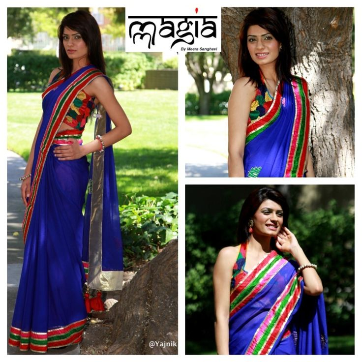 Beautiful Blue Chiffon saree with Silk borders, paired with a beautiful funky patch halter blouse. Model: Manpreet Rai