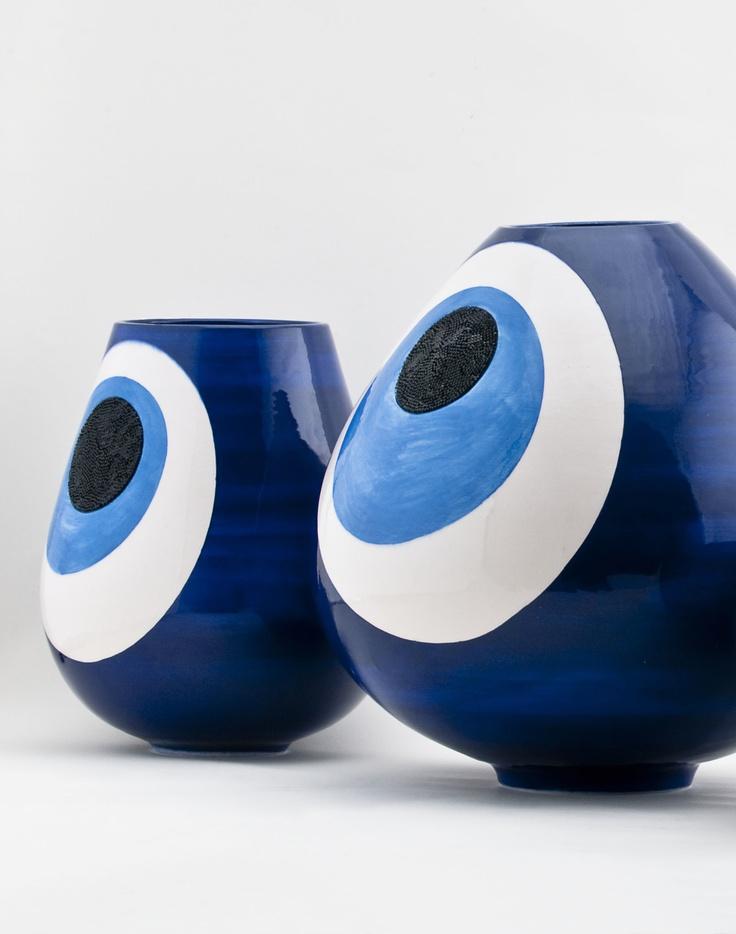 Eye - Vessels in Iznik ceramic by Sebastian Bergne for Gaia & Gino & Swarovski. (2010)