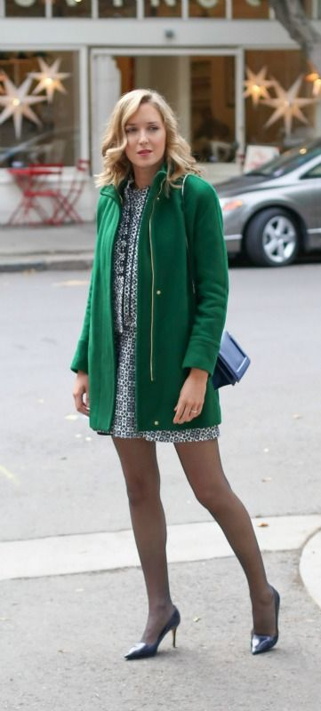 navy and white dress nad embellished jacket coordinates, kelly green coat + classic navy pumps