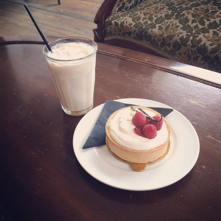 Afternoon delight: Raspberry Vanilla Bean Tart and Iced Earl Grey Tea Latte.