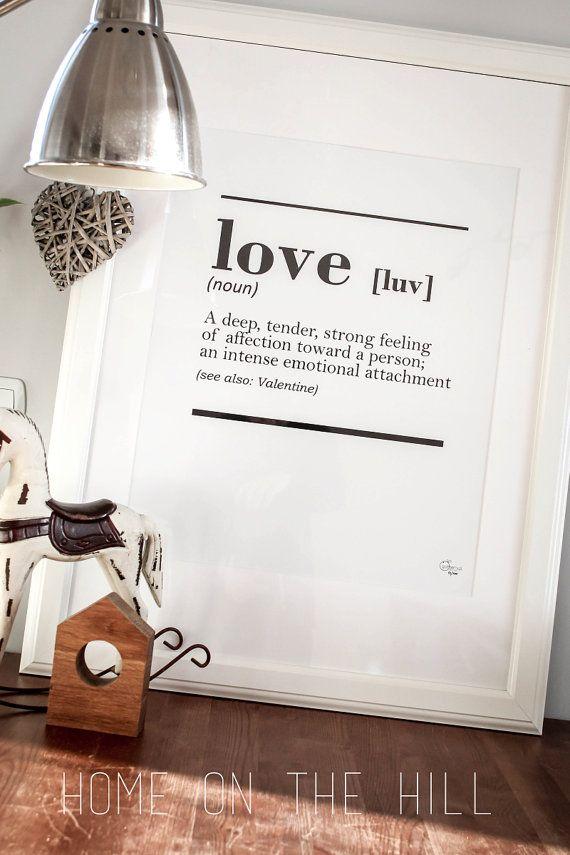 printable DICTIONARY LOVE interior poster minimal by gumberrypl #love #scandinavian #walldecor