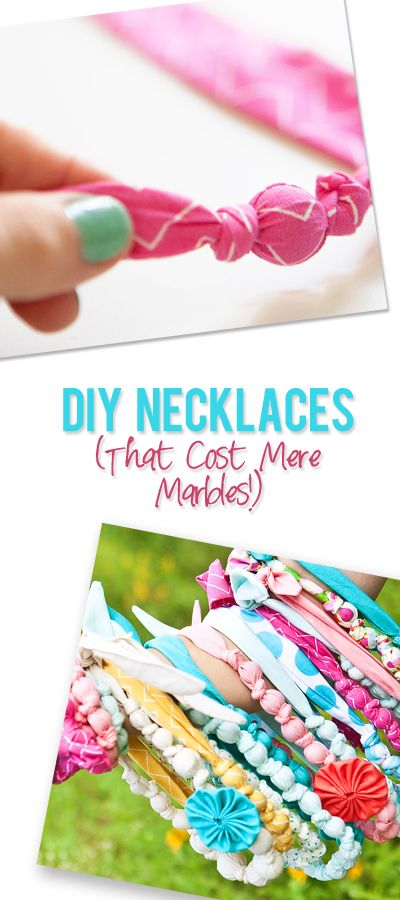DIY Fabric Necklaces (or Bracelets) that Cost Mere Marbles! These make the cutest gifts too! #diy #necklace #jewelry #howdoesshe @jan issues Howard Does She