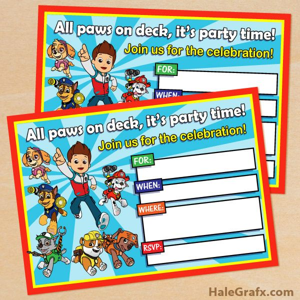 free printable paw patrol birthday invitation kids parties