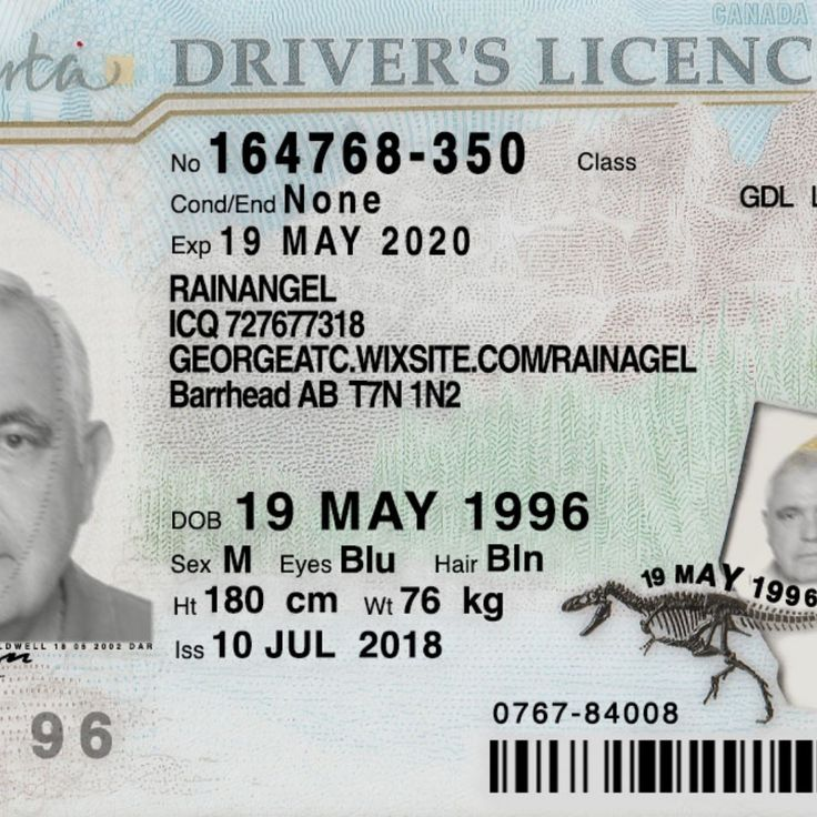 ALberta back and front Drivers license, Driving license
