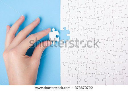 Missing jigsaw puzzle pieces. Business concept. Compliting final task - stock photo
