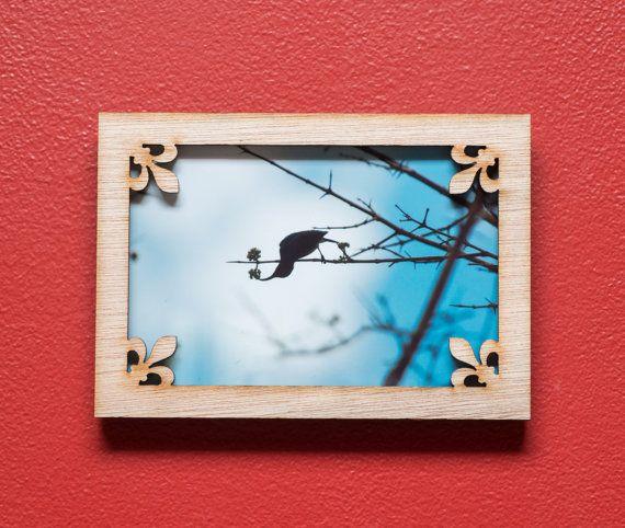 Fleur de Lis laser cut mahogany wood picture frame by EliseKoncsek