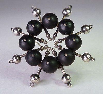 Kaija Aarikka, vintage modernist pin brooch in silver and ebony wood, 1962. | eBay.com