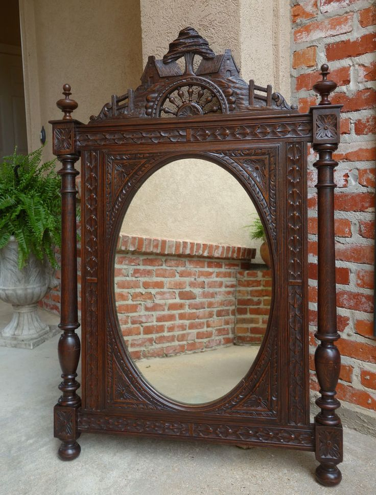 Antique French Breton Brittany Carved Oak WALL OVAL Pier MIRROR Frame Celtic - 38 Best Antique European Mirrors Images On Pinterest Wall Mirrors