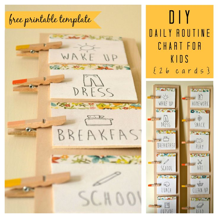 DIY Daily Routine Chart for Kids (with free printable template) | via listening in the litany