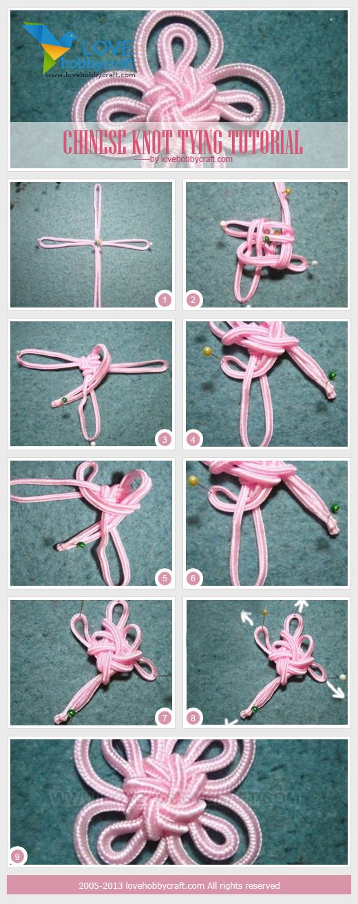 Chinese knot made with 3mm flat chinese knot cord