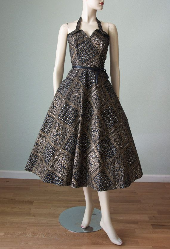 1950s New without Tags Taffeta Halter Party by KittyGirlVintage