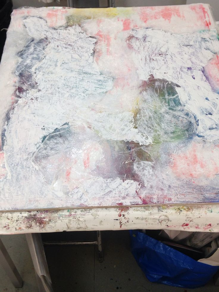 Day 2: Applying the first layer of white to seal the colour and cling film and allowing me tomorrow to start adding the second layer of colour.