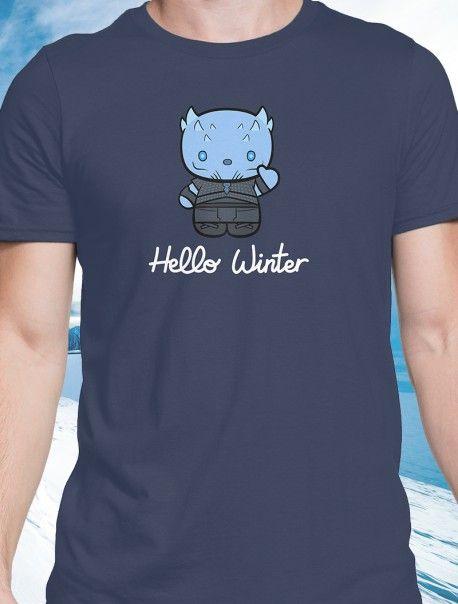 Hello Winter Camiseta Chico | Para los más freaks de Juego de Tronos y Hello Kitty, ¡Winter is Coming!