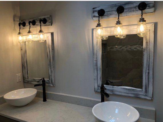 Gray Whitewash Mirror Grey Decor Wood Frame Mirror Rustic Etsy