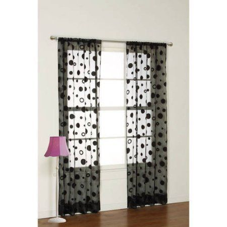 your zone flocked dot sheer curtain panel, Black