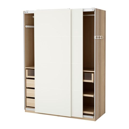 pax armoire penderie effet ch ne blanchi mehamn blanc. Black Bedroom Furniture Sets. Home Design Ideas