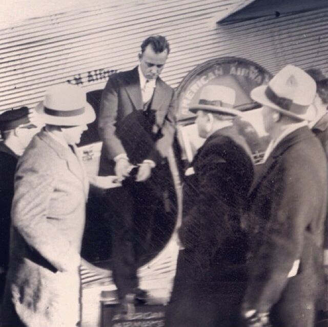 John Dillinger disembarking from his first plane ride.