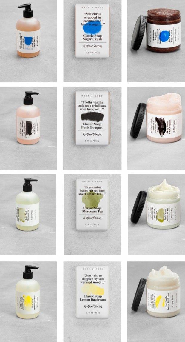 Aujourd'hui, petit focus sur le packaging de savons pour le bain très travaillé et surtout très réussi de la marque suédoise, & Other Stories, appartenant au groupe H&M.  La recette est simple: pour l'étiquette, une belle typographie noir et blanc couplée à une touche de couleur faisant référence au contenu. À cela s'ajoute des teintes fraiches et estivales, couleur pastel pour les savons.