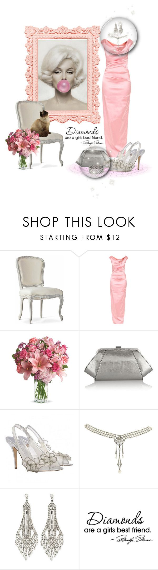 """""""Miss Monroe"""" by leanne-mcclean ❤ liked on Polyvore featuring Talbot Runhof, ZAC Zac Posen, Ben-Amun, Bulgari, WALL, silverandpink and SilverMeetsColor"""