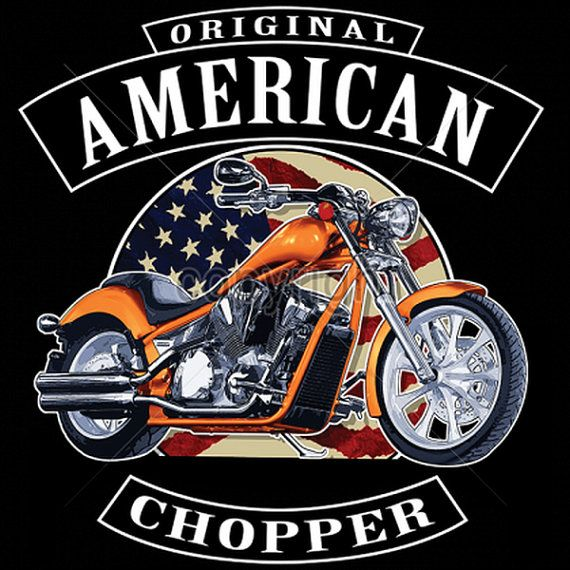 American Chopper with Flag ADULT Quality by OldSaltSailorTees