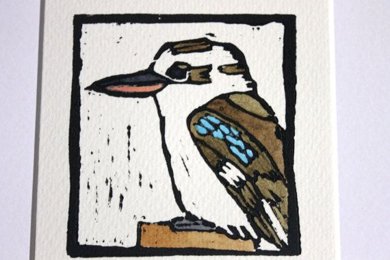 there is an amazing range of Australian native bird and animal linocut prints in this new DUST member store on Etsy. Kookaburra original linocut print by Yoliprints on Etsy