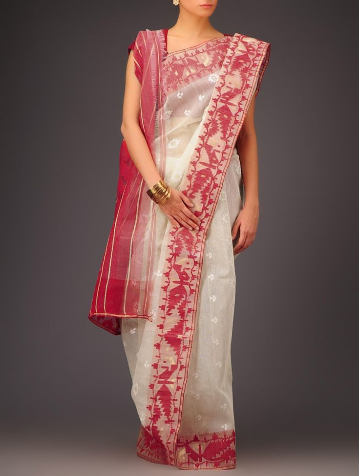 Buy Cream Red Cotton Jamdani Saree Sarees Woven Wondrous Ethereal Dhakai Online at Jaypore.com