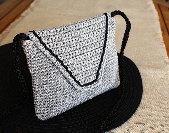 Grey knit bag Crossbody summer purse Woman crochet bag