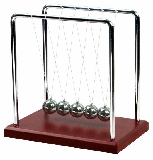 Newtons Cradle . named after Sir Isaac Newton, is a device that demonstrates conservation of momentum and energy using a series of swinging spheres. When one on the end is lifted and released, it strikes the stationary spheres; a force is transmitted through the stationary spheres and pushes the last one upward.