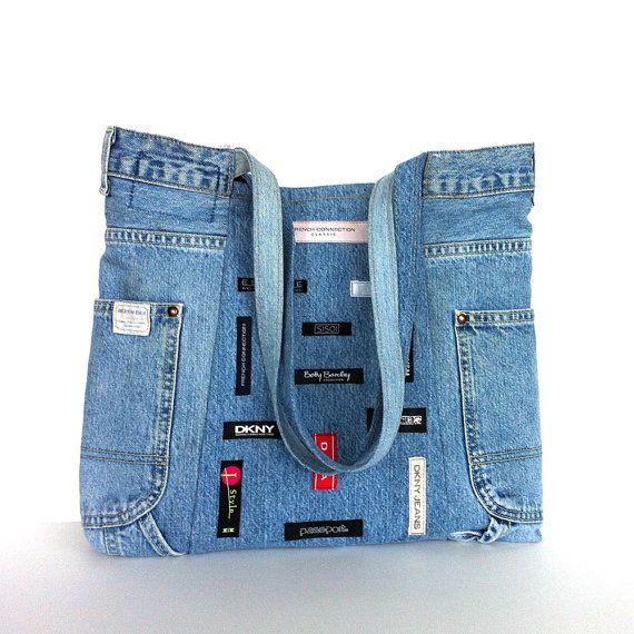 Recycled jean bag ,  handmade reclaimed denim shoulder tote bag in blue , upcycled jean handbag , denim school bag