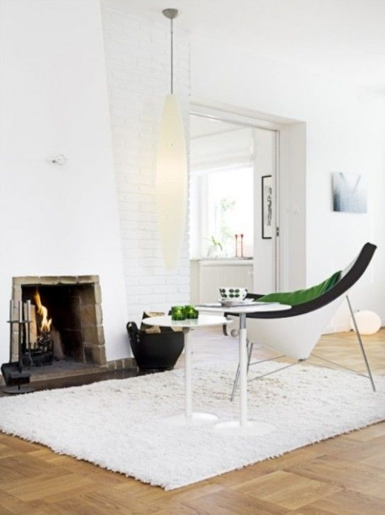 White Scandinavian House In The 50s Style  Love the touch of green.