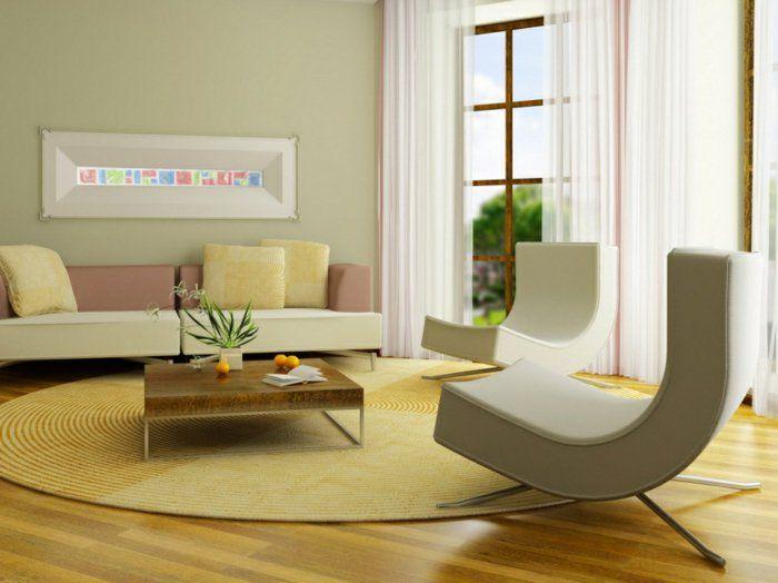 feng shui facile tapis jaune canap couleur pastel mur vert claire rideaux - Vert Chambre Feng Shui