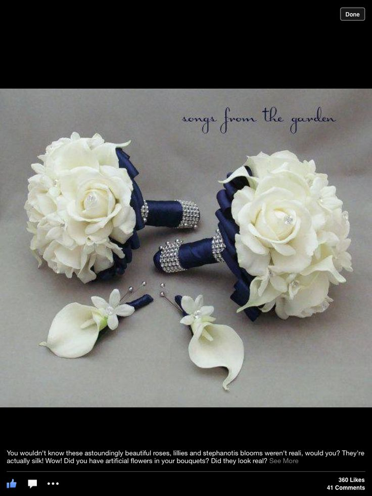 Navy Wedding Flower Package Bridesmaid Bouquets Groomsman Boutonnieres Silk…