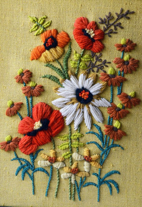 Vintage Yellow Floral Crewel Embroidery | Just received an old book for Crewel Embroidery.
