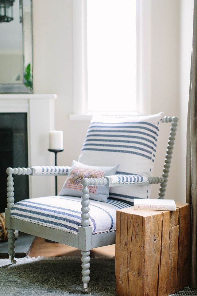 Spindle Chair. Gray Spindle Chair. Grayish Blue Spindle chair. #SpindleChair Kate Marker Interiors.
