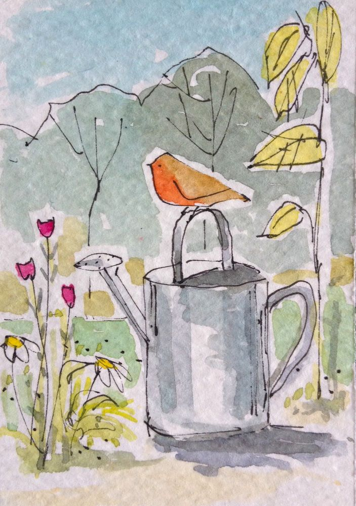 ACEO original watercolour - Garden Robin- by Annabel Burton