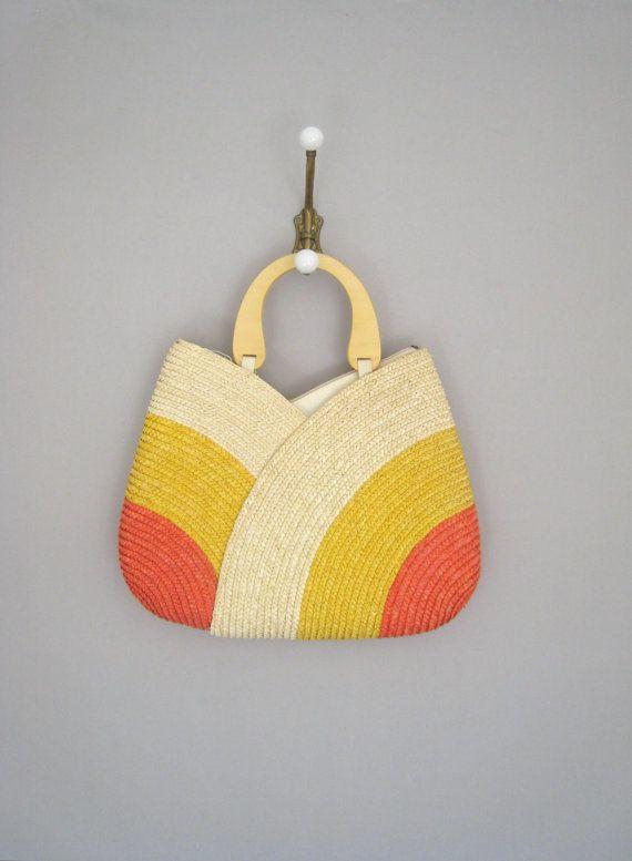 vintage 70s purse // woven handbag by VacationVintage on Etsy