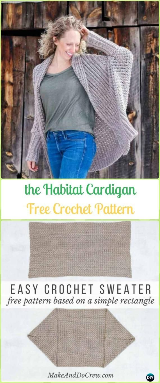 Crochet Habitat Cardigan from Rectangle Free Pattern - Crochet Women Sweater Coat & Cardigan Free Patterns