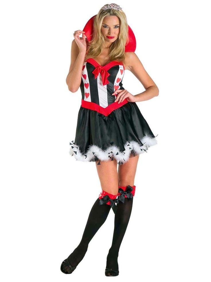 Hartenvrouw kostuum voor dames: Dit hartenvrouw kostuum voor dames bestaat uit een jurk en kroontje (kousen en schoenen niet inbegrepen).De jurk is kort en is van een satijnachtige stof. De onderkant is zwart met een witte nep...