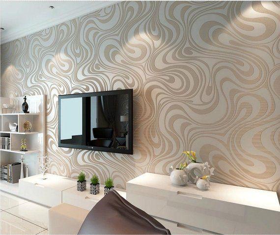 Flocking Spirals Cream White Wallpaper Textured Embossed Etsy Wallpaper Living Room 3d Wallpaper For Bedroom Contemporary Wallpaper
