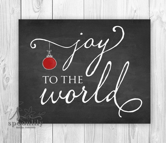 Joy to the World Sign w Red Christmas Decoration, Joy to the World Christmas Decor, Joy to the World Holiday Art, Chalkboard Christmas Art by SpoonLily on Etsy