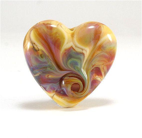 Handmade Lampwork Heart Focal Bead, Honey Brown Green Purple Blue - SRA, LE Team, DUST Team