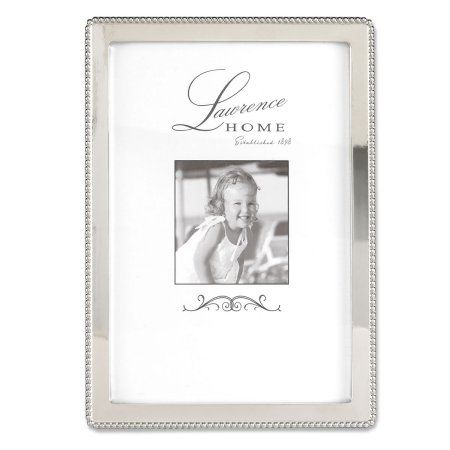 Lawrence Frames 4x6 Metal Picture Frame with Outer Border of Beads, Silver