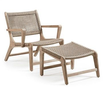 Bastien Solid Acacia Timber Frame Indoor/Outdoor Armchair with Footrest