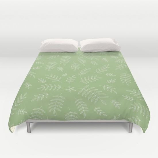 Delicate Branches - Green Duvet Cover - branch, branches, leaf, leaves, nature, plant, plants, pattern, simple, minimalist, vector, art, design, illustration