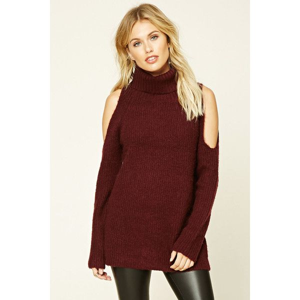 Love 21 Women's  Contemporary Turtleneck Sweater ($25) ❤ liked on Polyvore featuring tops, sweaters, turtleneck sweater, red turtleneck sweater, red top, red turtleneck and polo neck sweater