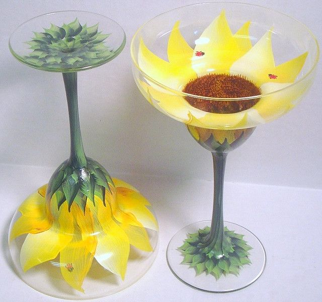 HANDPAINTED SUNFLOWER AND LADYBUG MARGARITA WINE GLASSES by The PaintedMann, via Flickr