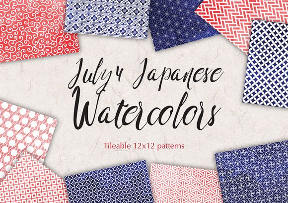 July 4 Watercolor Digital Paper by All is full of Love on @creativemarket